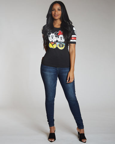 Black Front And Back Mickey And Minnie Print Tee