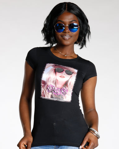 Diya Black Rhinestone Sunglass And Pearl Bow Tie Tee