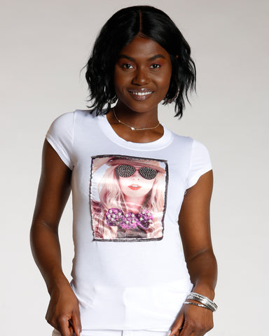 Diya White Rhinestone Sunglass And Pearl Bow Tie Tee
