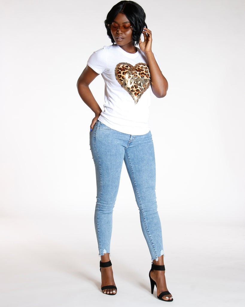 VIM VIXEN Juana White Love Cheetah Print Patch Tee - ShopVimVixen.com