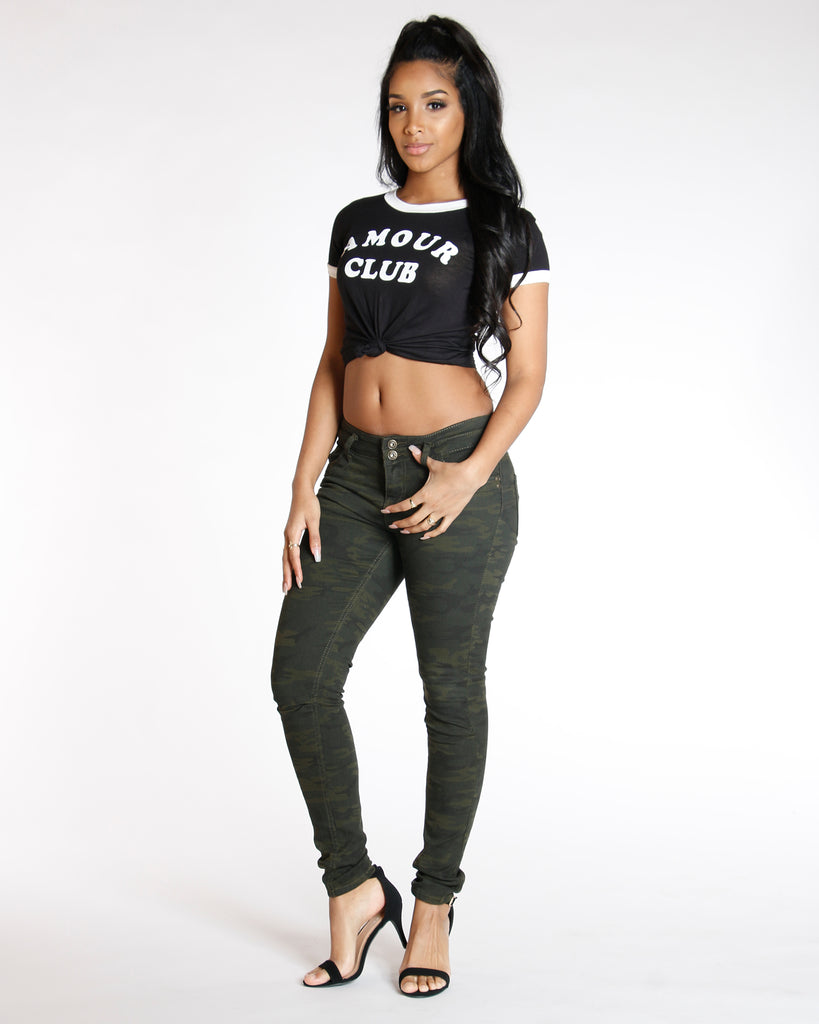 Black Amour Club Tie Knot Tee