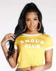 Yellow Amour Club Tie Knot Tee