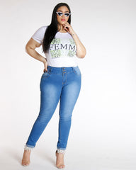 VIM VIXEN Three Button Colombian Jean - Medium Denim - ShopVimVixen.com