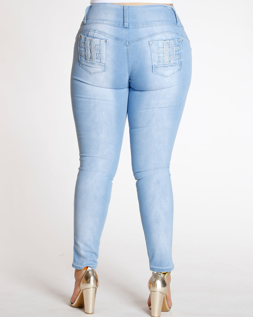 Light Blue Three Button Colombian Jean