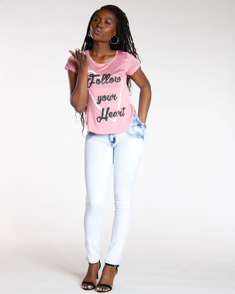 Mauve Follow Your Heart Rhinestone Tee