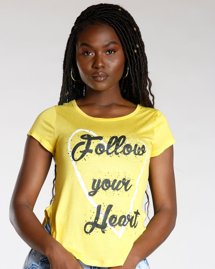 Yellow Follow Your Heart Rhinestone Tee