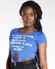 Royal Humor Text Front Tie Tee