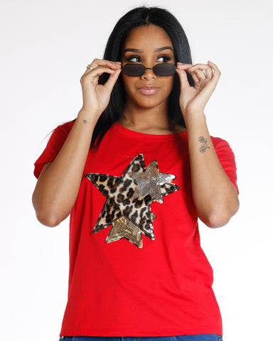 Red Cheetah Star Sequin Tee