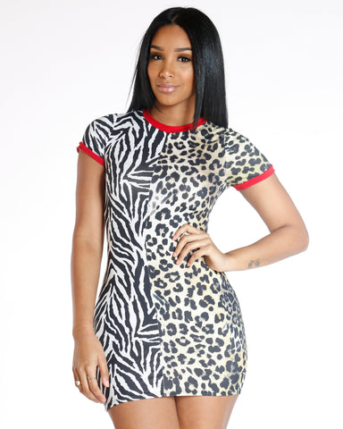 Lyda Split Cheetah & Zebra Print Dress