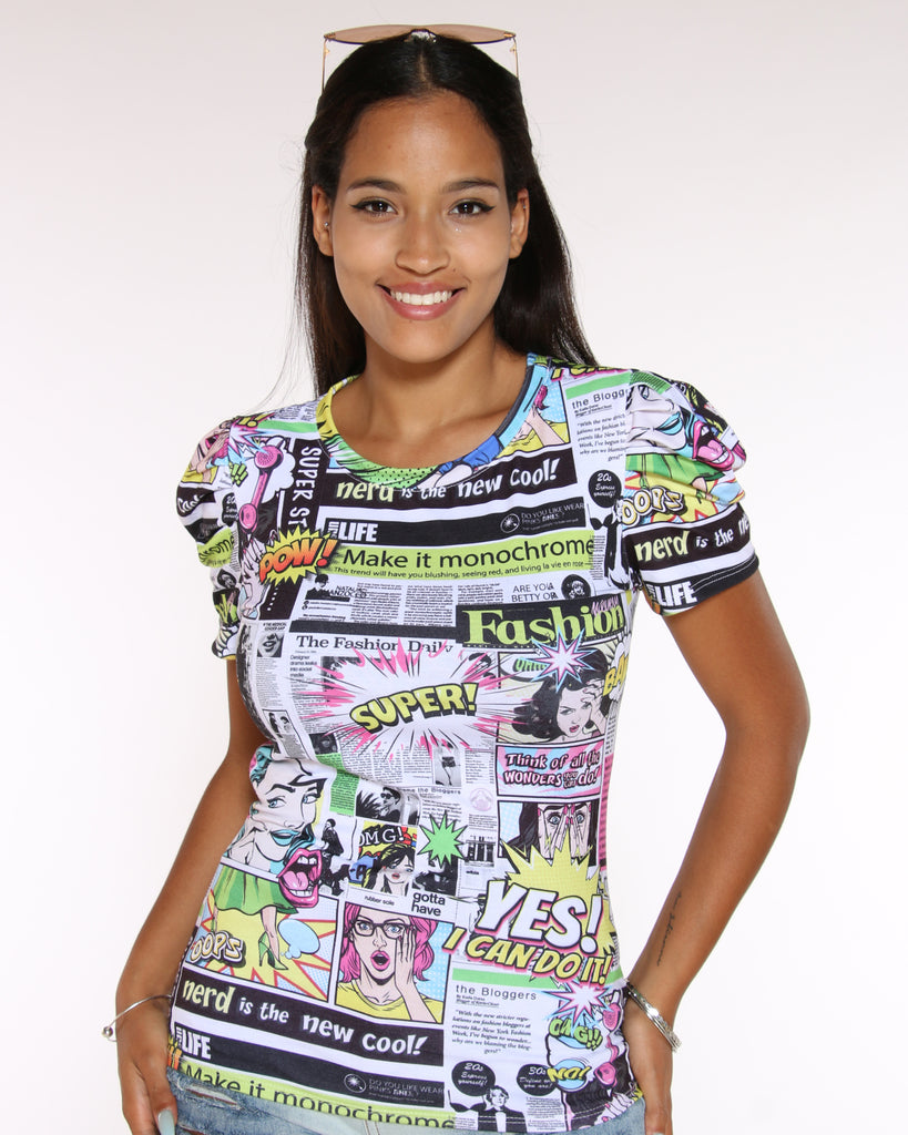 VIM VIXEN Comic Printed Top - White - ShopVimVixen.com