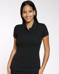 VIM VIXEN Dickies Two Button Polo Shirt - Black - ShopVimVixen.com