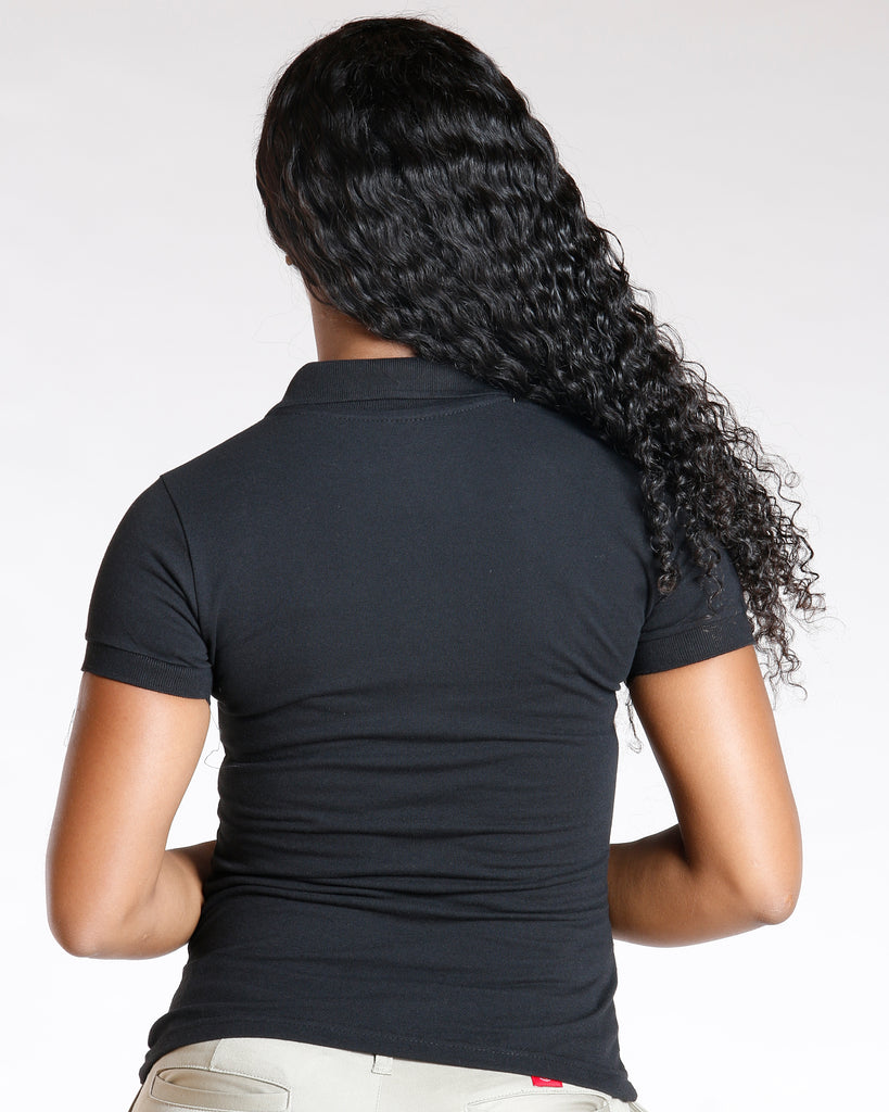 VIM VIXEN Two Button Back To School Polo Shirt - Black - ShopVimVixen.com