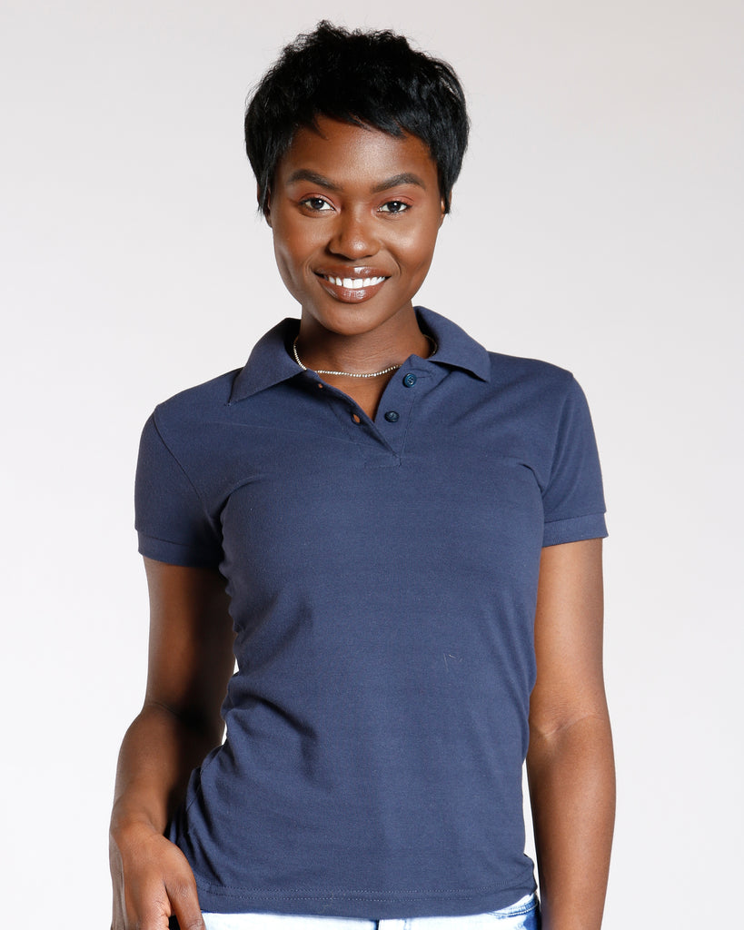VIM VIXEN Two Button Back To School Polo Shirt - Navy - ShopVimVixen.com