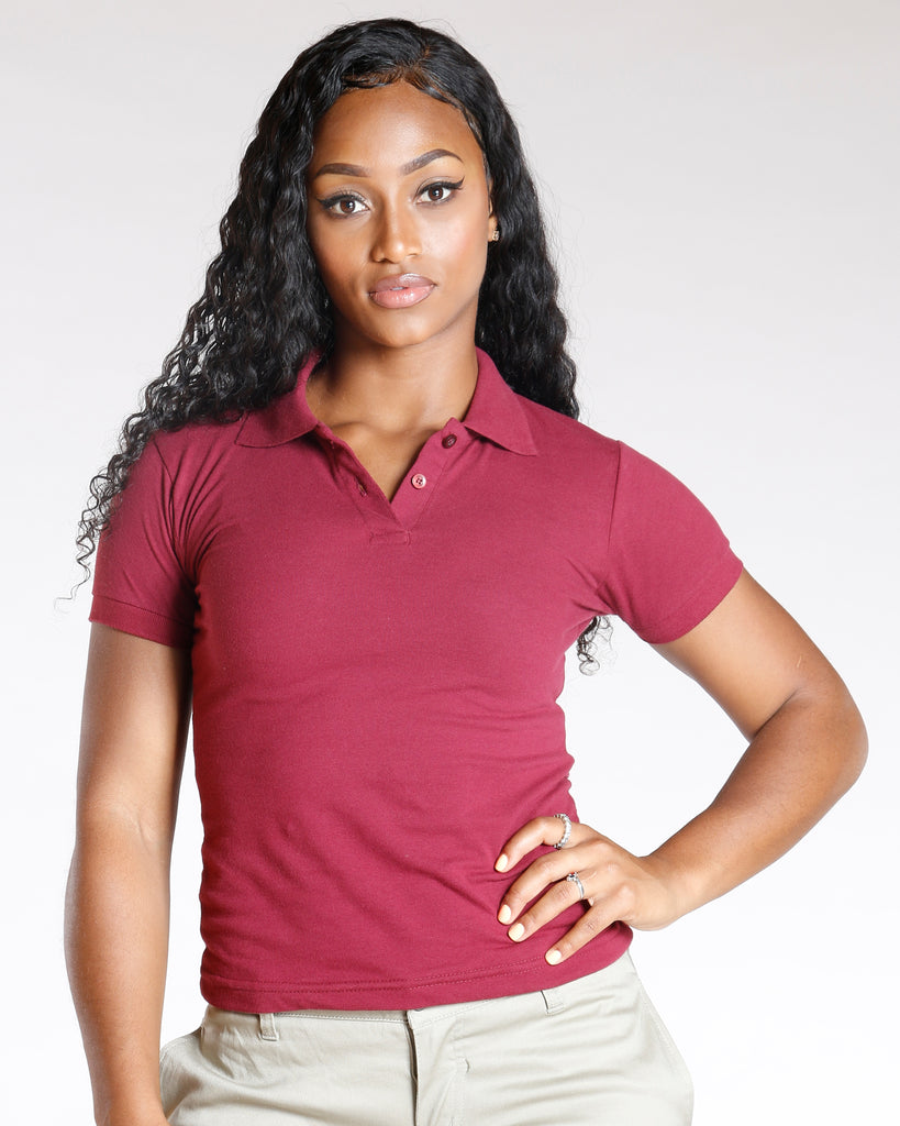 VIM VIXEN Two Button Back To School Polo Shirt - Burgundy - ShopVimVixen.com