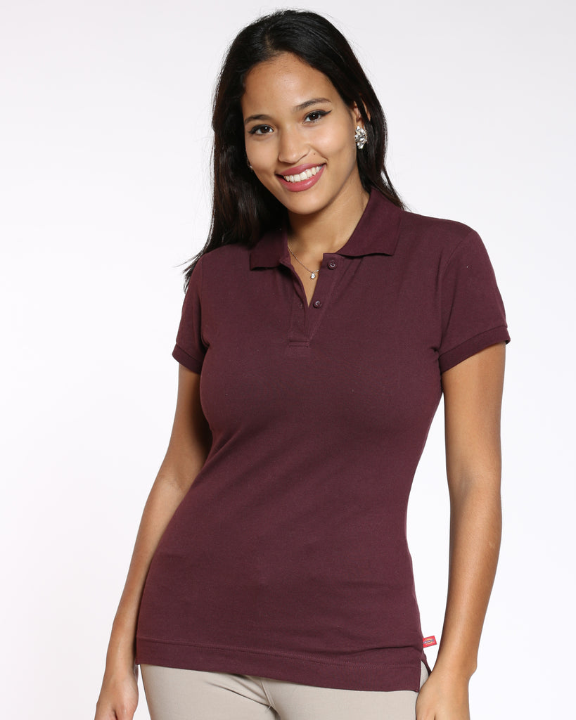 Dickies Two Button Back To School Polo Shirt - Burgundy - ShopVimVixen.com