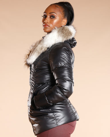 Two Tone Fur Hood Heavy Jacket