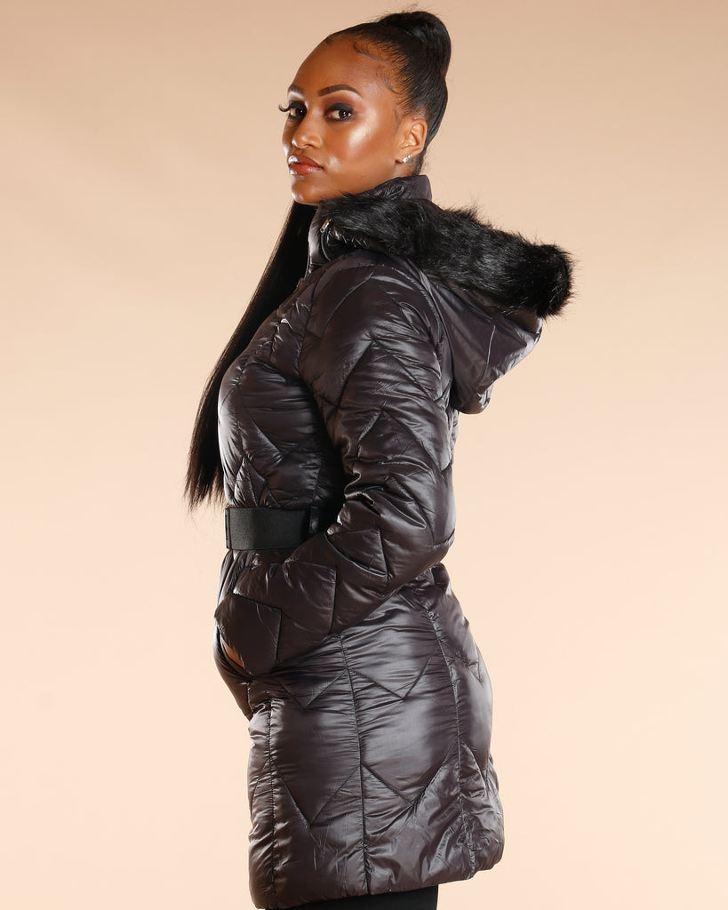VIM VIXEN Fur Hood Long Heavy Jacket - Black - ShopVimVixen.com