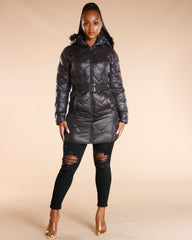 Black Fur Hood Long Heavy Jacket