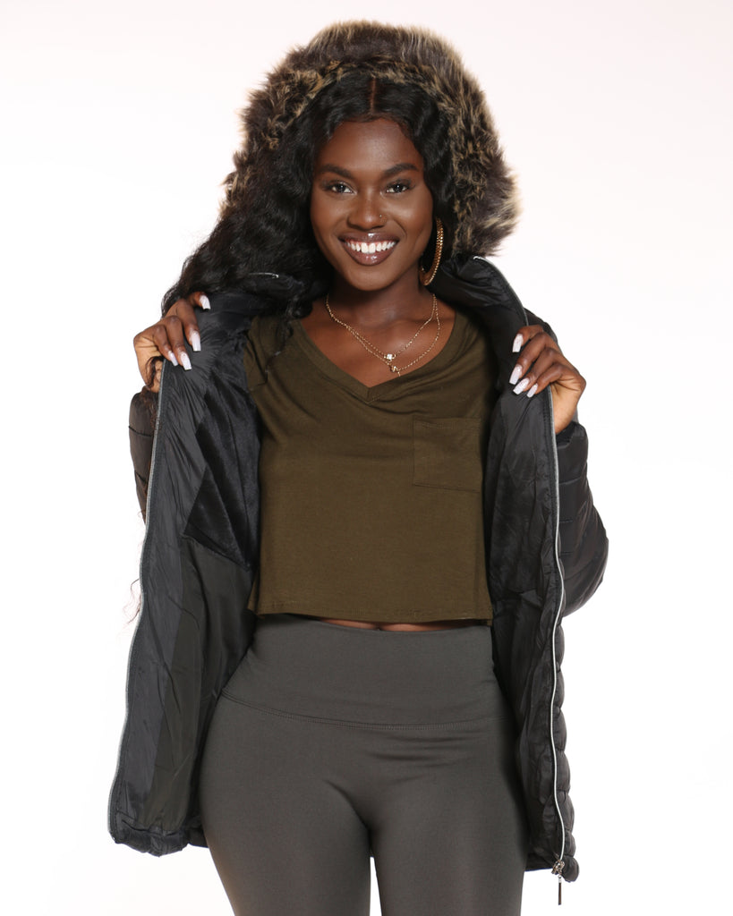 YMI Long Fur Lined Hood Jacket - Black - ShopVimVixen.com