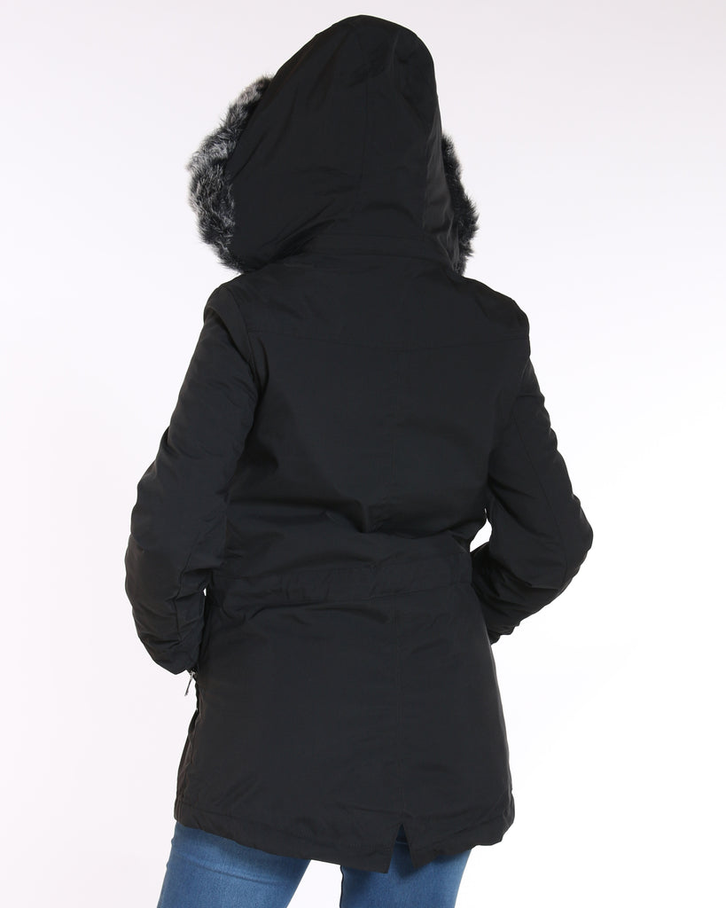 YMI Fur Lined Parka Jacket - Black - ShopVimVixen.com
