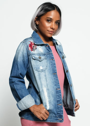 Ripped Flower Patch Denim Jacket