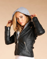 Faux Leather Removable Hood Jacket - Black