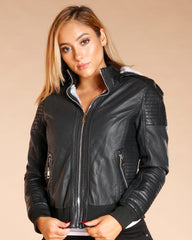 Faux Leather Removable Hood Jacket