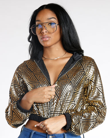 Golden Child Abstract Bomber Jacket