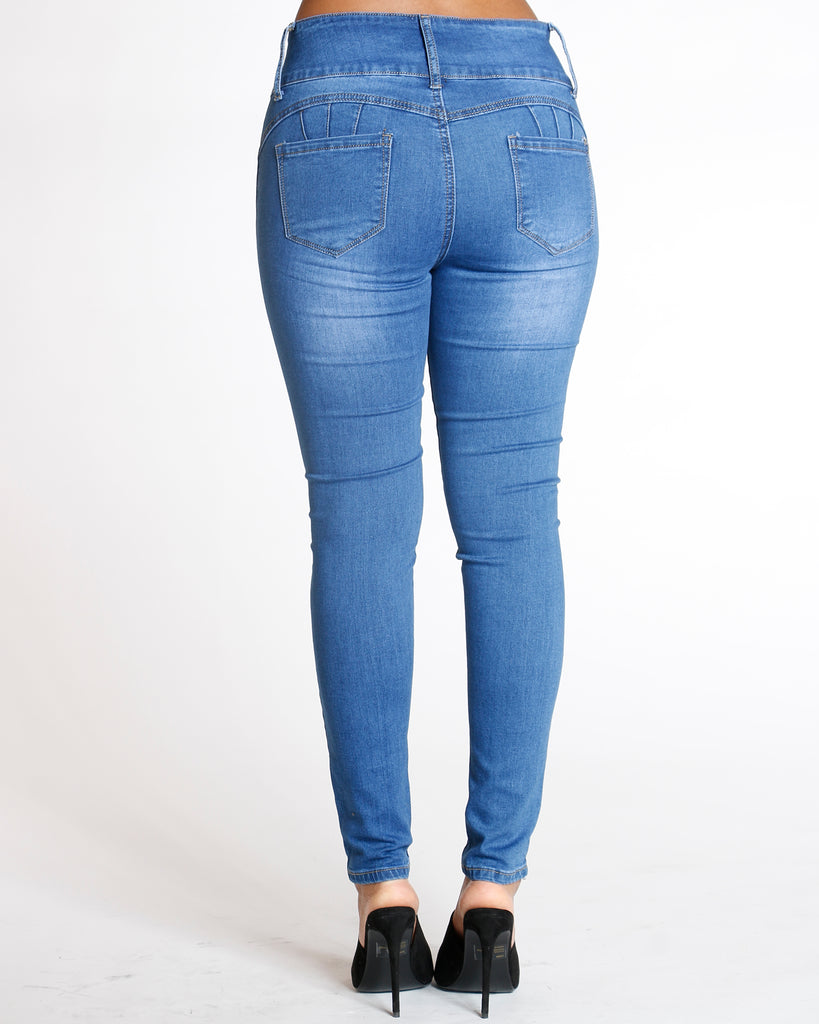 REMY MA BY VIM VIXEN Three Button Colombian Jean - Medium Denim - ShopVimVixen.com