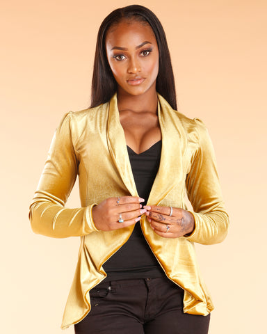 Gold Velvet Fashion Blazer