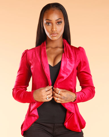 Red Velvet Fashion Blazer