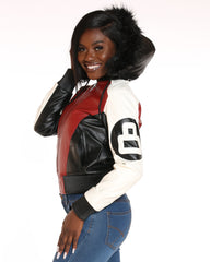 VIM VIXEN 8 Ball Fur Hood Jacket - Black Red White - ShopVimVixen.com