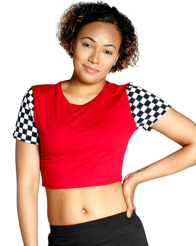 FEELING GOOD CHECKER TOP - RED