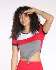 VIM VIXEN Say It'S Not So Colorblock Front Tie Top - Red - ShopVimVixen.com