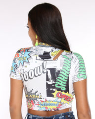 VIM VIXEN Comic Print Crop Top - White - ShopVimVixen.com