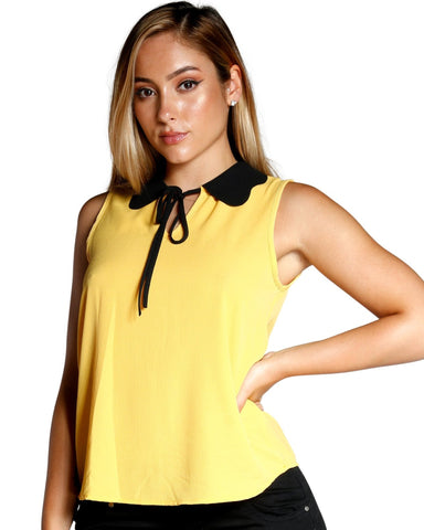 FRONT TIE CONTRAST COLLAR TOP (AVAILABLE IN 3 COLORS)