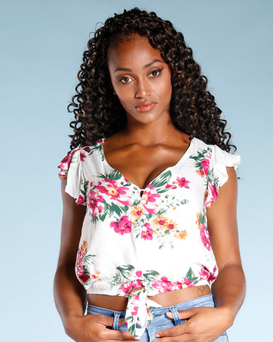 Rose Floral Front Tie Top (Available In 2 Colors)