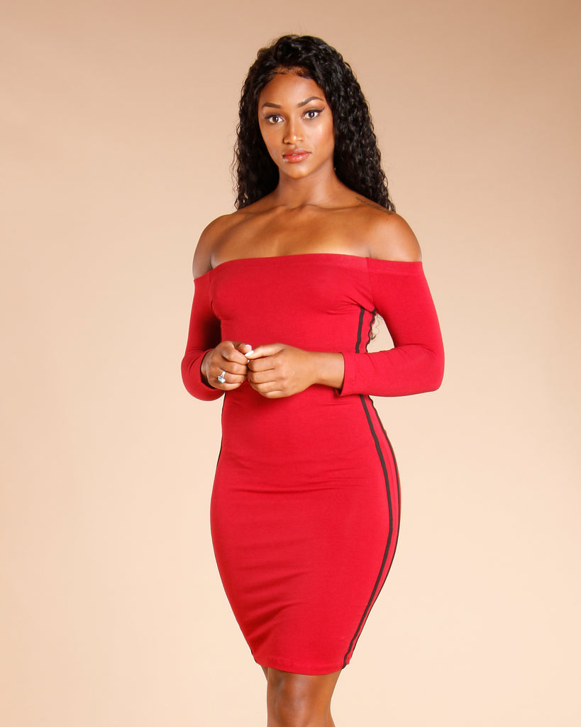 OFF THE SHOULDER SIDE STRIPE DRESS (AVAILABLE IN 4 COLORS)