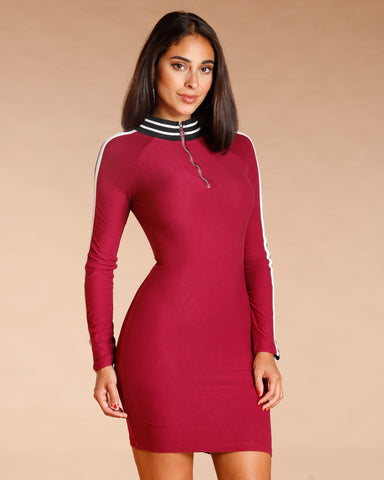 Long Sleeve Mock Neck Dress (Available In 3 Colors)