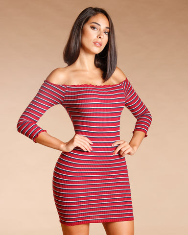 STRIPE RIBBED FRILL EDGE BODYCON DRESS (AVAILABLE IN 3 COLORS)