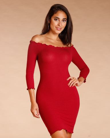 Ribbed Frill Edge Bodycon Dress (Available In 4 Colors)