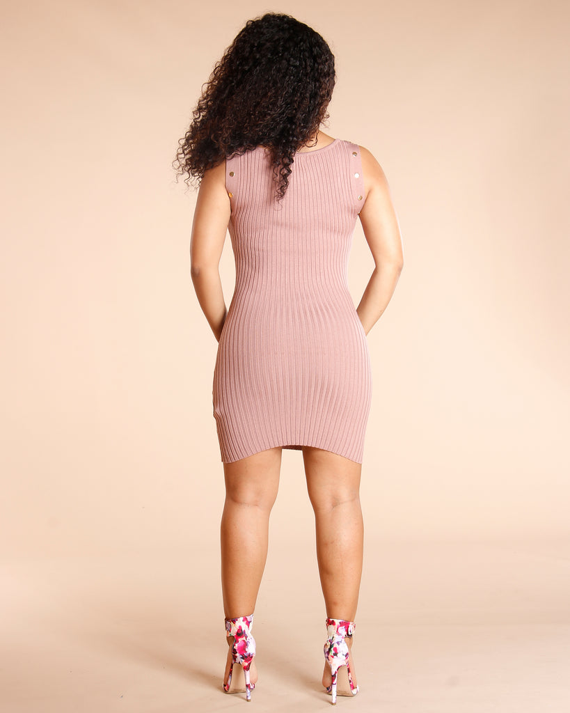 Ribbed Snap Dress (Available In 5 Colors)