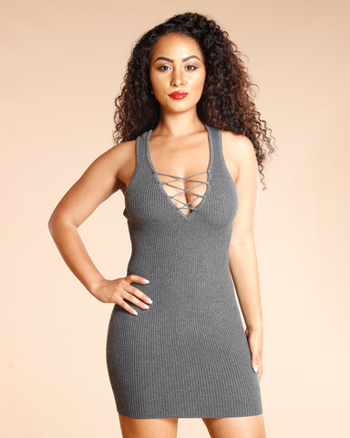 Ribbed Lace Up Dress (Available In 3 Colors)
