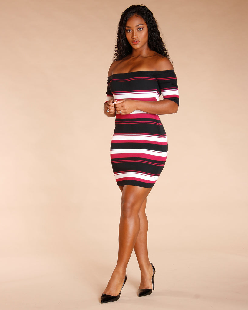Stripe Off The Shoulder Dress (Available In 4 Colors)