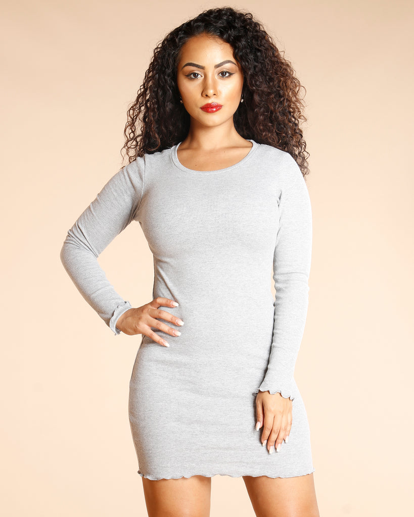 Long Sleeve Ribbed Dress (Available In 5 Colors)