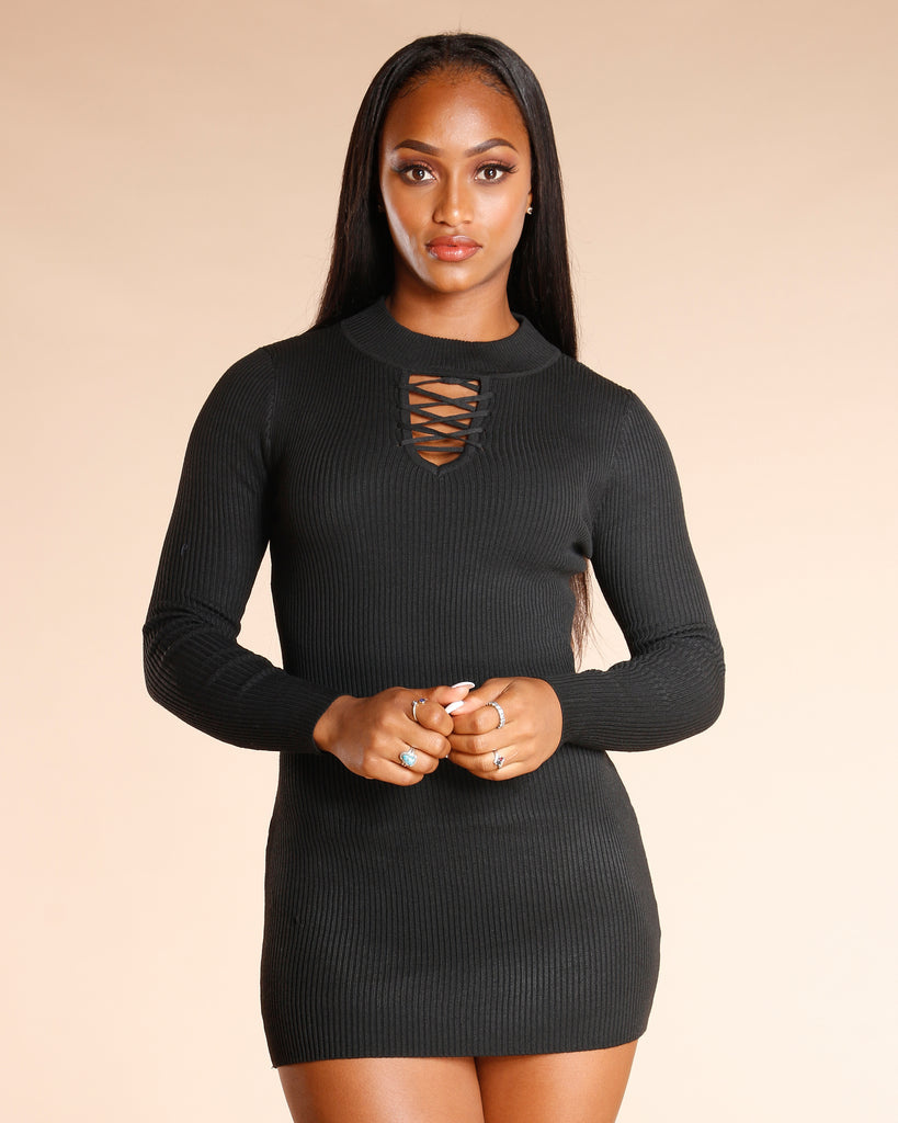 Lace Up Neck Sweater Dress