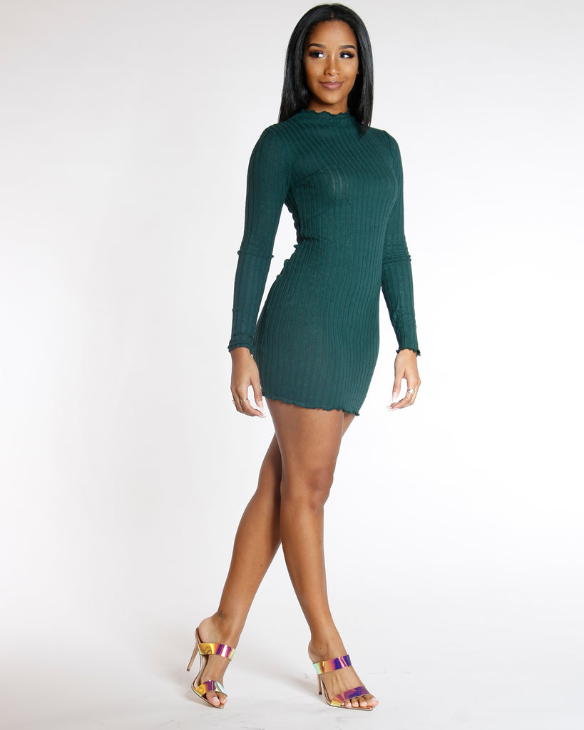 42912e93646 VIM VIXEN. Previous. Elmyra Green Long Sleeve Ribbed Sweater Dress