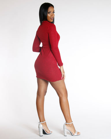 Elmyra Red Long Sleeve Ribbed Sweater Dress