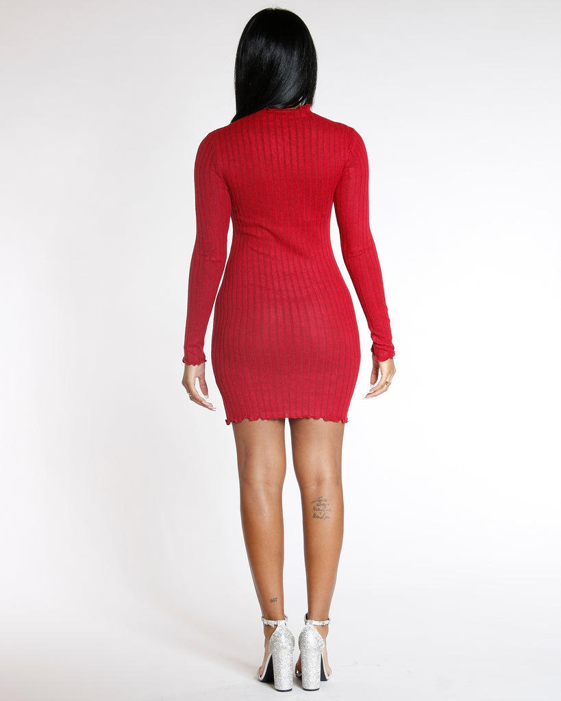 52607f77c02 Women s Elmyra Red Long Sleeve Ribbed Sweater Dress - Vim Vixen