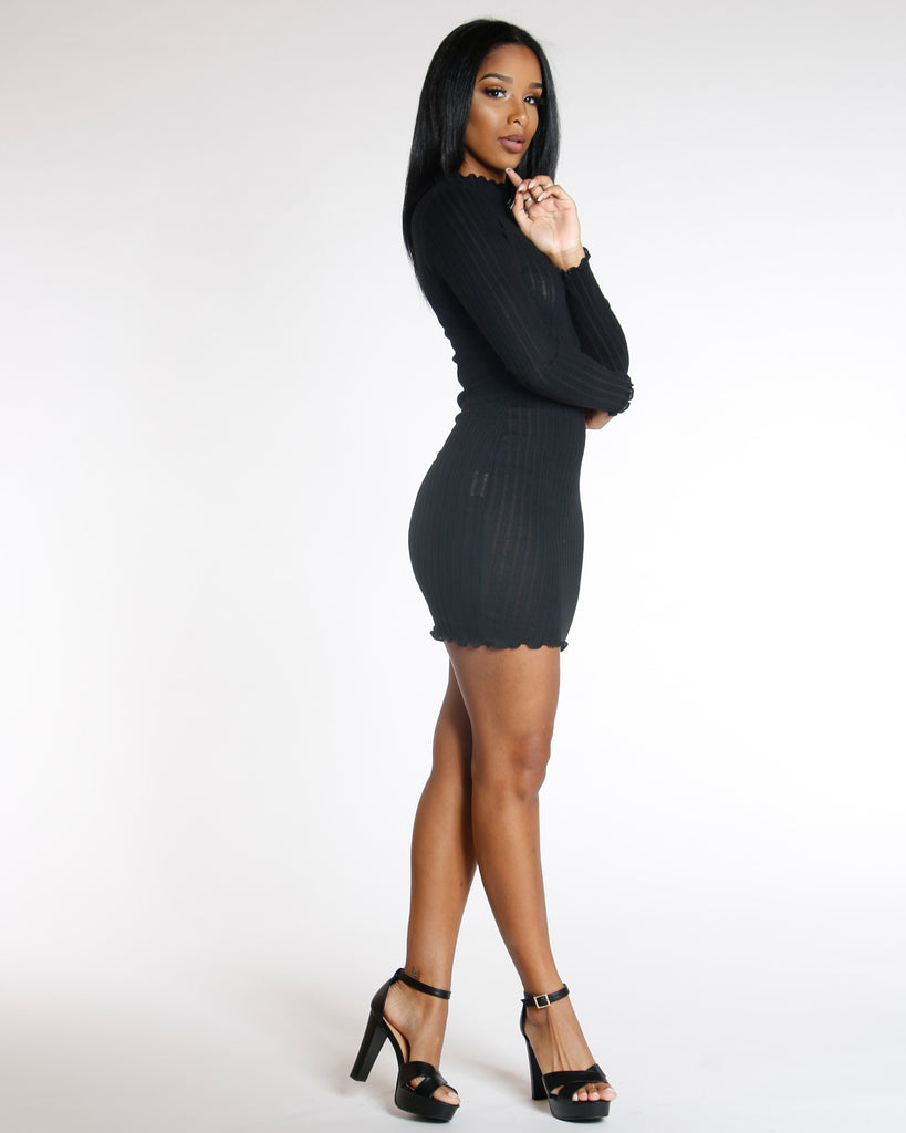 VIM VIXEN Elmyra Black Long Sleeve Ribbed Sweater Dress - ShopVimVixen.com